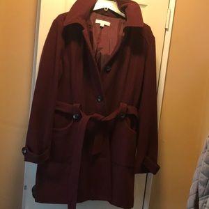 Burgundy mid length pea coat